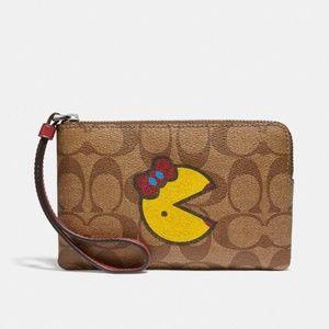 Corner Zip Wristlet With Ms. PacMan